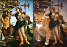 This is What Happens When You Photoshop an Overweight Cat Into Art  Are you bored of all those Renaissance paintings with nude people in it? Well, you came to the right place. We have gathered the most exciting and suprising renaissance paintings that stand out with its originality… and fatness.