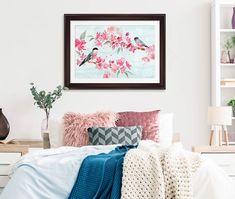 Bird art over a bed Make A Choice, Empty Spaces, Bird Art, Art Decor, Home Decor, Decorating Tips, Your Space, Framed Art, Family Room