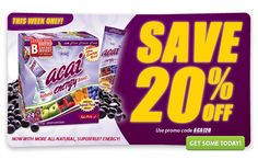 Get Acai Natural Energy Boost for $19.96 this week with the promo code ACAI20.    Offer ends 10/1/12