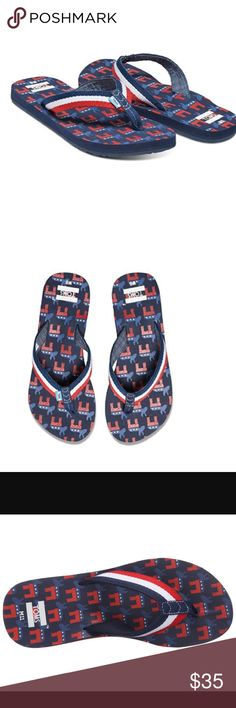 TOMS Solana Democrat Donkeys Flip Flops Brand new with tags. This pair is a Womens size 11, but it is a unisex shoe. It would also fit a Men's size 9. The men's style is exactly the same. Show off a little patriotic style this summer with the TOMS® Solana Democrat Donkeys flip flop! Textile straps with red, white, and blue stripes. Footbed features a unique red, white, and blue Democrat donkey print. Durable textile toe post. Cushioned EVA footbed with arch support. Durable rubber outsole…