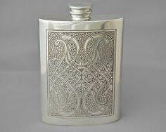 vintage pewter hip flask, celtic knot design, 4oz, kidney shape £26 ono plus shipping