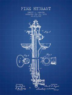 Fire Hydrant Patent From 1876 - Blueprint Digital Art