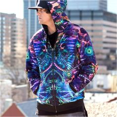 Synapse Reversible Hoodie by Justin Totemical , Apparel - Justin Totemical, Threyda - 2 Zip Hoodie, Hooded Jacket, Zip Ups, Zipper, Hoodies, Cotton, Optical Illusions, Jackets, Trippy
