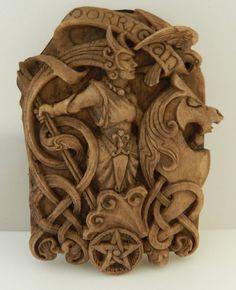 MORRIGAN Raven Goddess Wall Plaque Wiccan Pagan Dryad Design wood look plaque