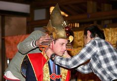 The Duke of Cambridge dressed as a Samurai King at NHK studios