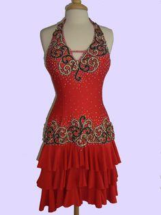 Dance  Latin Dress Red  with Gold/Black Lace    by DesignByNatasha, $569.00