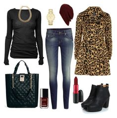 """""""Leopard coat"""" by sinceiwaslittle ❤ liked on Polyvore featuring MAC Cosmetics, Dorothy Perkins, Rick Owens, H&M, Boohoo, Gogo Philip, Chanel, Topshop, Fiorelli and DKNY"""