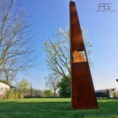 Brasero tour design en pointe, en acier Corten, Vertex, artisanal et fabriqué en France par AGtrema