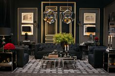 Play with black. Add drama to your home with a dark living room design. #home #interiordesign #styletip