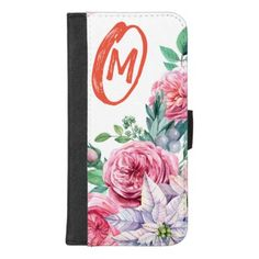 Monogram Floral Pink Girly Frame iphone wallet - monogram gifts unique design style monogrammed diy cyo customize