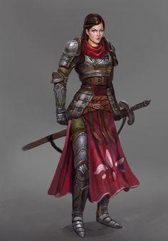 Female knight, Timothy Kong - on ArtStation at https://www.artstation.com/artwork/oQa5L