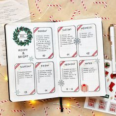 Christmas Bullet Journal page ideas, holiday-themed doodles tutorials, and stationery. The ultimate guide to adding Christmas spirit to your bujo. Bullet Journal School, Bullet Journal Christmas, Bullet Journal Weekly Layout, December Bullet Journal, Bullet Journal Notebook, Bullet Journal Aesthetic, Bullet Journals, Bullet Journal Gift List, Bullet Journal Months