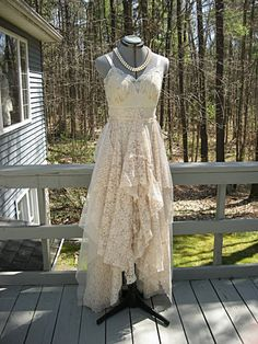 Champagne Boho Hippie Gypsy Beach Wedding Dress Long Ruffled Recycled Vintage Laces Size 6 10 Small Medium By Lily Whitepad