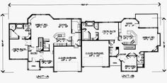 First Floor Plan of Traditional   Multi-Family Plan 70462