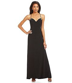 Joanna Chen New York Beaded Back Gown #Dillards #JoannaChenNY