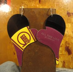 Vinyl Record Earrings Heart Shape Debarge ALL by LeahCreationVinyl, $28.00