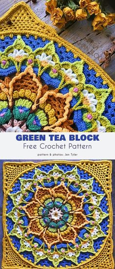 Beautiful Flower Afghan Block Free Crochet Patterns – – – Knitting patterns, knitting designs, knitting for beginners. Motif Mandala Crochet, Crochet Motifs, Granny Square Crochet Pattern, Crochet Blocks, Free Crochet, Crochet Flower, Crochet Stitches, Mandala Blanket, Crochet Squares Afghan