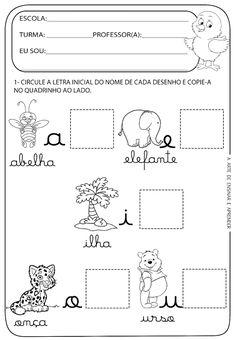 Atividade pronta - Vogais cursivas Kindergarten Worksheets, Parenting, Writing, School, Kids, Facebook, Infant Activities, Language Activities, Kids Learning Activities