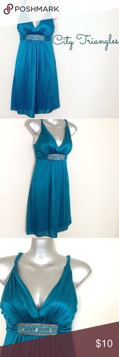 City Triangles Evening Dress City Triangles. Evening / Prom / Bridesmaid dress. Teal. Beaded detail. Twist straps. Mini. Polyester. Size XS. City Triangles Dresses Mini