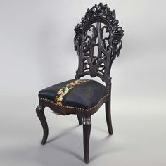1855 decor | ... Gothic/Rococo Revival Carved and Stained Oak Parlor Chair Circa 1855