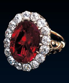 An Antique Royal Ruby Ring, circa 1870. Formerly the property of Queen Marie José (1906-2001), a gift from the scholar and bibliophile, Tammaro de Marinis. There have only been three Queens of the united Italy and that this important ring belonged to the last gives it an historic interest in addition to its intrinsic value.