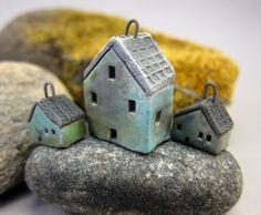 House Pendant and Earrings Set in Matte Copper Blue. €27.50, via Etsy.