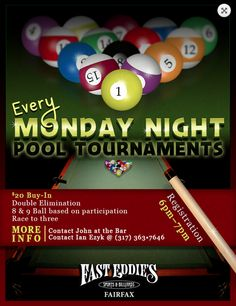 Advertisement flyer design for local Billiards/Pool Tournament. #kdyerdesigns