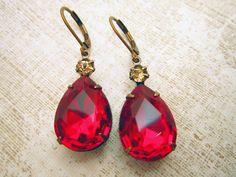 Red Earrings Drop Earrings Ruby Red Earrings Dangle Earrings Bridal Wedding via Etsy