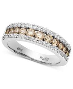 Levian chocolat diamond bands   Le Vian 14k White Gold Ring, Chocolate Diamond Pave Band (1/4 ct. t.w ...