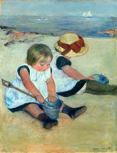 Kinderen die op het strand spelen, Mary Cassatt