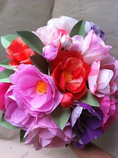 Tissue paper flowers! Image of Camelia Bouquet. Watch video & make your own: http://www.marthastewart.com/article/paper-poppies-and-peonies#ooid=53eXdlMjqssaCmQ3tE9SgMoCkbO-EjQ8