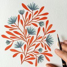 And more fun made up flowers! I'm having so much fun! #illustratorinminneapolis #makingupflowers #painting #watercolor #floral #pattern #makingitupasigo #workinprogress by kirstensevig