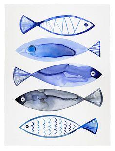 Retro Watercolour Fish print for sale ©Margaret Berg