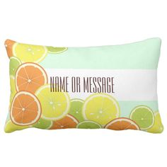 Citrus Fruits Original Design Personalized Lumbar Pillow #summer #roomdecor #original #design