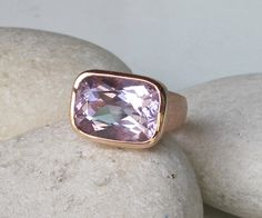 Large Rectangle Amethyst Ring- Rose Gold Statement Ring- February Birthstone Ring- Chunky Gemstone Ring- Purple Amethyst Solitaire Ring