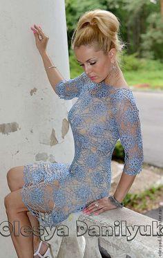 """Купить Платье """"Блестящее"""" - кружевное платье, платье крючком, нарядное платье, голубое платье"""