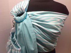 Aqua And White Stripes With Solid Aqua Pattern Baby Ring Sling by IndigosInMotion Handmade Baby, Handmade Gifts, Ring Sling, Baby Sling, Baby Patterns, Indigo, Aqua, Stripes, Couture