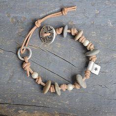 leather knotted bracelet silver pebbles bracelet hippie