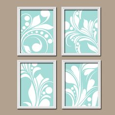 aqua bedroom wall art trellis pattern swirl design canvas or prints bathroom artwork nursery pictures flower burst home decorset of 4