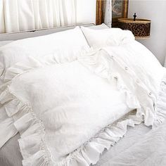 Ruffle Linen Pillow Shams Washed Luxury Linen Bedding Shabby Chic Raw Edge Ruffle Pillowcase Covers- Made to Order Shabby Chic Bedrooms, Bedroom Vintage, Shabby Chic Homes, Shabby Chic Style, Shabby Chic Furniture, Shabby Chic Decor, Painted Furniture, Linen Pillows, Linen Bedding