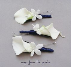 Real Touch Calla Lily Stephanotis Boutonnieres Groom Groomsmen Wedding Flower Package Navy Ribbon on Etsy, $30.00