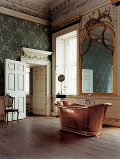 This copper tub reminds me of the scene in BBC Pride and Prejudice with Colin Firth as Mr. Darcy.