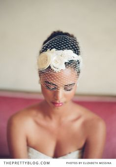 I really like the way the headband is placed on top of the bandeau veil...very pretty.