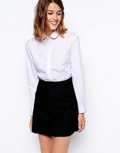 ASOS Long Sleeve Shirt with Spot Piping Detail