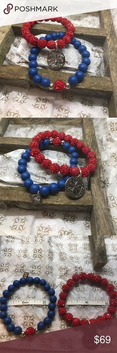 Rustic cuff bracelets Shot Through the ❤️ New! Part of the Shot through the heart collection. Milan is blue with a red bead. Emerson is red with big logo & its silver.   Both brand new!  Look at my other listings for bundle savings! rustic cuff Jewelry Bracelets