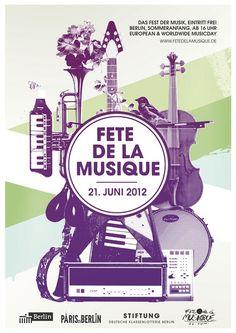 Fête de la Musique Berlin 2012 Ad Design, Flyer Design, Print Design, Design Ideas, Tachisme, Lorde, Berlin Paris, Festival Jazz, New Flyer