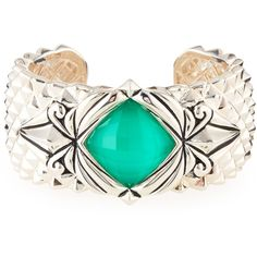 Stephen Webster Spiked Crystal Haze Quartz Cuff Bracelet ($969) ❤ liked on Polyvore featuring jewelry, bracelets, polish jewelry, clear cuff bracelet, cuff bangle, bangle cuff bracelet and clear crystal jewelry