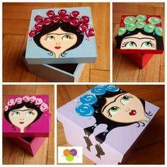 Cajas Fibrofácil Souvenir Decoración Pintadas A Mano - $ 40,00 en MercadoLibre