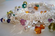 The Girly Girl Bracelet Silver Bungee with by CrookedCrystal, $24.99