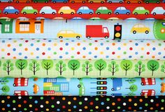 City Centre fabric bundle by Print and Pattern in primary colors by fabricshoppe, $19.00